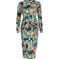 Green tropical print twist bodycon dress