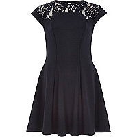 Navy blue lace top skater dress