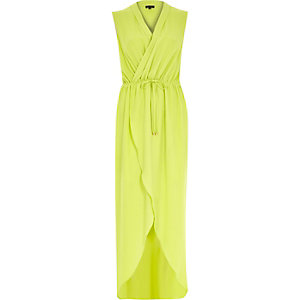 Lime green wrap front maxi dress