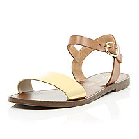 Brown gold leather flat sandals