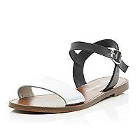 Black silver leather flat sandals
