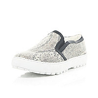 Beige snake slip on cleated sole plimsolls