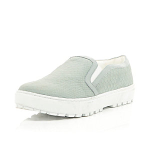 Grey snake slip on cleated sole plimsolls