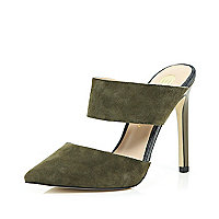 Green suede point strappy mules