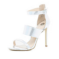 Silver snake print three strap sandals