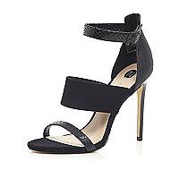 Black snake print three strap sandals
