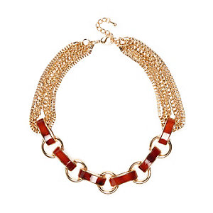 Gold tone tortoise shell chain necklace