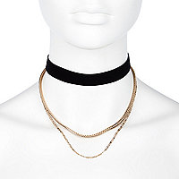 Black velvet multi chain choker