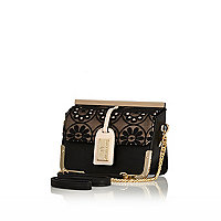 Black lace luggage tag cross body bag