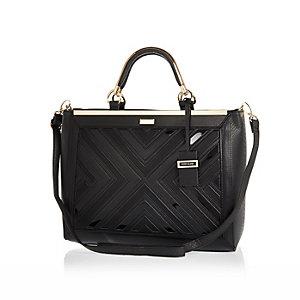 Black smart detail tote handbag