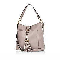 Light purple tassel front slouchy handbag