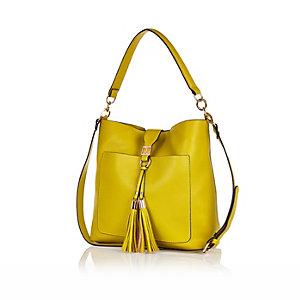 Yellow tassel front slouchy handbag