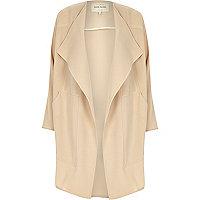 Beige crepe drape slouchy coat