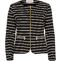 Black stripe zip front fitted jersey jacket