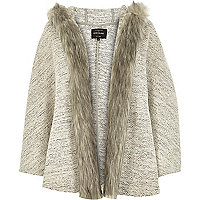 Beige jersey faux fur trim cape