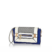 Blue contrast panel fishnet clutch bag
