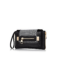 Black contrast panel fishnet clutch bag