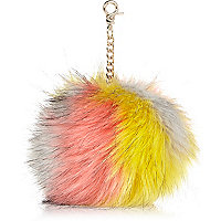 Multicoloured faux fur pom pom keyring