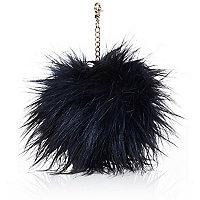 Black faux fur pom pom keyring