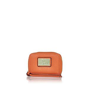 Orange mini zip around purse