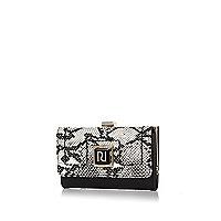 Black snake print clip top purse
