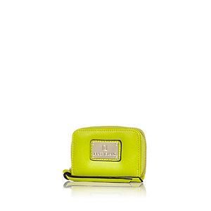 Lime mini zip around purse