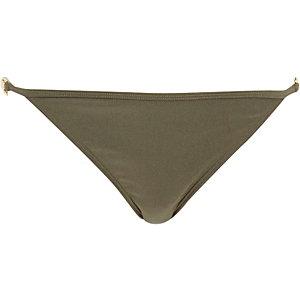 Khaki strap side tie bikini bottoms