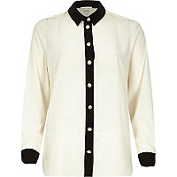 White monochrome long sleeve shirt