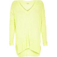 Yellow lightweight slouch V-neck jumper
