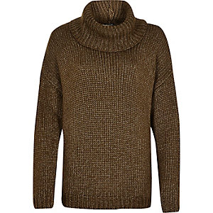 Khaki chunky roll neck jumper