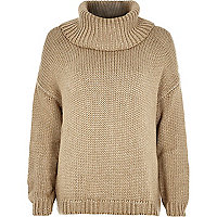 Beige chunky roll neck jumper