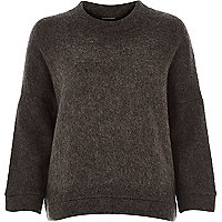 Grey soft felt boxy jumper