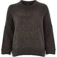 Grey soft felt boxy jumper