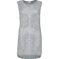 Grey metallic mesh sleeveless top