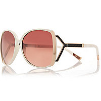 Cream oversized square sunglasses