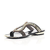 Dark brown chain loop sandals