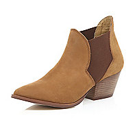 Brown leather Western ankle boots
