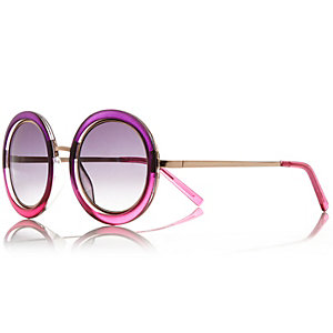 Red ombre round sunglasses