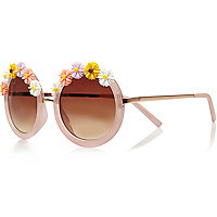 Light pink flower frame round sunglasses