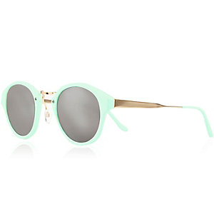 Mint green retro mirror sunglasses