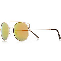 Gold high bar round mirror lens sunglass