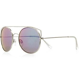 Silver high bar round mirror lens sunglasses
