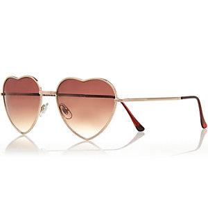Gold tone heart frame sunglasses
