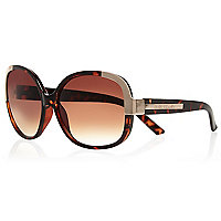 Brown tortoise shell metal square sunglasses