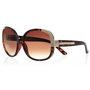 Brown tortoise shell metal square sunglasses