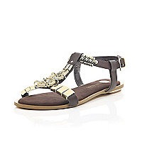 Brown jewel detail T-bar sandals