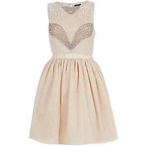 Pink pearl embellished occasion prom dress