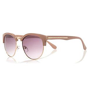 Light brown half frame retro sunglasses