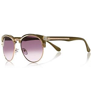 Khaki half frame retro sunglasses