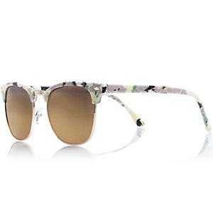 White floral print retro sunglasses
